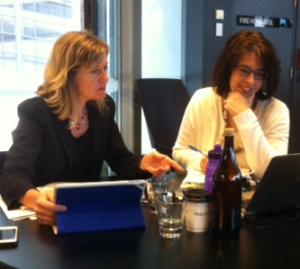 Helen and me working together - after I got to know her through her blog